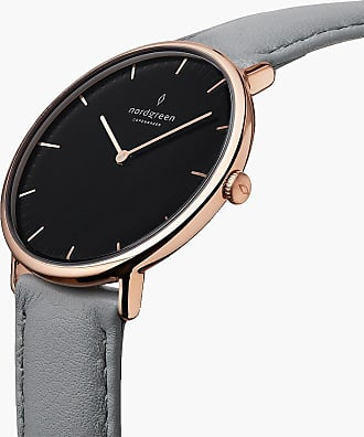 Nordgreen Native | Black Dial - Grey Leather - 36mm / Rose Gold