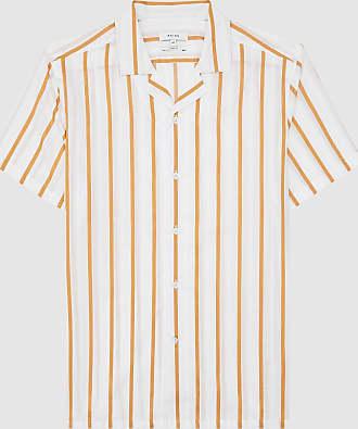 Reiss Zest - Striped Cuban Collar Shirt in White, Mens, Size XXL