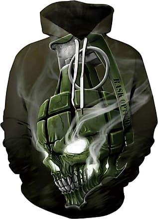 Ocean Plus Mens Hoodie 3D Graphic Hoodie with Kangaroo Pocket Hoody Sweat Hood Sweatshirts (S/M (Chest: 112-132CM), Grenade Skull)