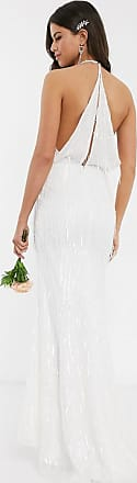 Jarlo Bruiloft - Lange jurk met lovertjes en franje in gebroken wit-Crème