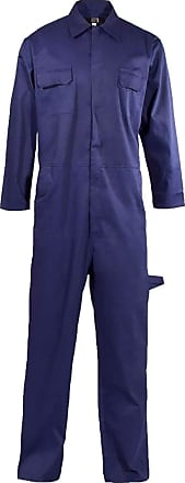 Islander Fashions Mens Popper Front Polycotton Coverall Adults Long Sleeve Mechanic Boiler Suit Navy 3X Large