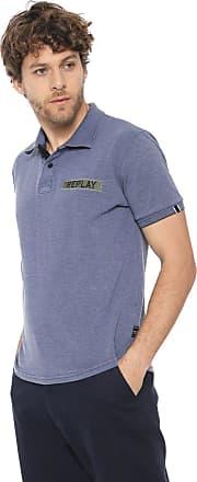 Replay Camisa Polo Replay Reta Azul