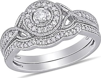 Zales 1/3 CT. T.w. Diamond Frame Vintage-Style Bridal Set in Sterling Silver