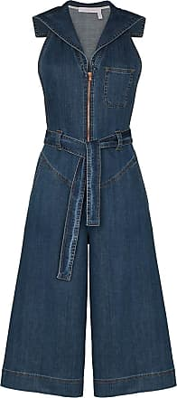 See By Chloé Macacão jeans cropped com zíper - Azul