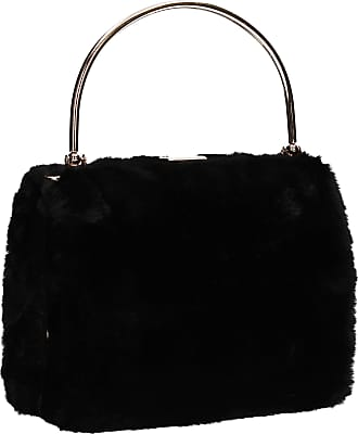 Swankyswans Denis Faux Fur Box Clutch Bag Black