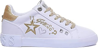 Guess Scarpe Donna Sneaker Pryde in Ecopelle Colore Bianco/Gold DS20GU06