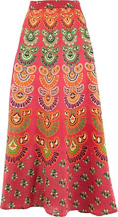 Loud Elephant Long Maxi Wrap Skirt with Block Print Mandala - Red & Emerald Green