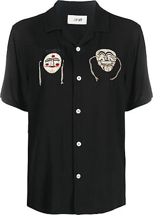 Kirin Camisa oversized com bordado no colarinho - Preto