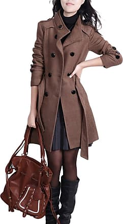 YOUJIA Long Trench Coat for Womens Stand Collar Double Breasted Winter Overcoats Belted Slim Fit Wool Blend Coat Parka (Coffee, CN XL)