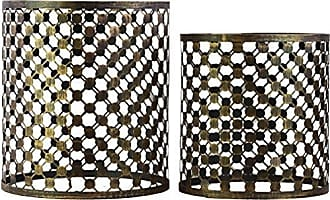 Urban Trends Collection Urban Trends Metal Table Mirror Top (Set of 2), 17.5 by 17.5 by 19.75, Brown/Gold