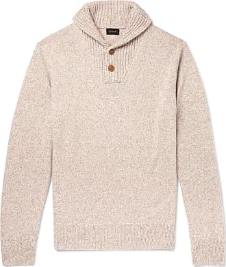 J.crew Shawl-collar Mélange Merino Wool-blend Sweater - Cream