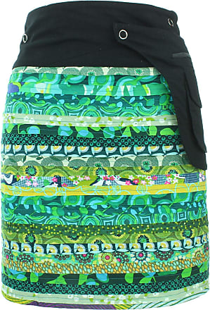 Loud Elephant Reversible Popper Wrap Knee Length Skirt - Green Patch Strips/Floral Oyster