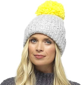 Foxbury Ladies Chunky Knit Hat with Contrast Coloured Bobble Grey