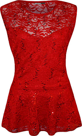 WearAll Plus Size Womens Floral Lace Sequin Sleeveless Ladies Peplum Party Top - Red - 20-22