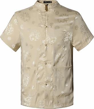 Jeansian Mens Chinese Traditional Tang Shirt Dragon Kung Fu Tai Chi Short Sleeve Tops L900 Beige XXL