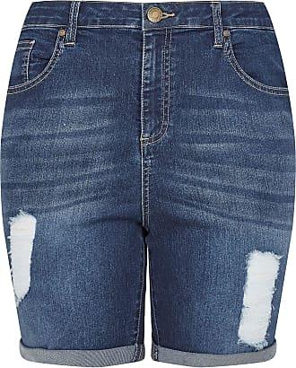 Yours Clothing Clothing Womens Indigo Distressed Denim Shorts Size 30-32 Blue