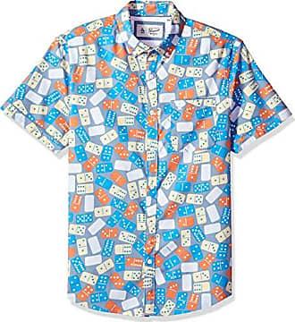 72f26265 Original Penguin Mens Short Sleeve Printed Button Down Shirt, Faded Denim  Dominos M