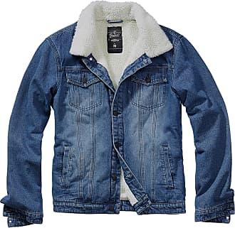 Brandit Men Denim Jacket Sherpa, Size:2XL, Color:Denim Blue/Off White