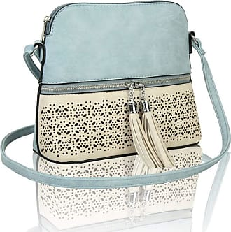 LeahWard Womens Quality Faux Leather Cross Body Bags Tassel Shoulder Bag Handbags For Holiday Party 1061 (PALE BLUE/PEARL)