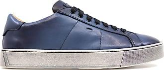 Santoni MBGL20850SPOMGOOU55 Mens Leather Trainers Blue Blue Size: 9.5 UK