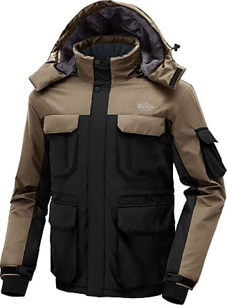Wantdo Mens Warm Ski Jacket Hooded Mountain Waterproof Winter Coat Windproof Raincoat Outdoors Parka Black Khaki M