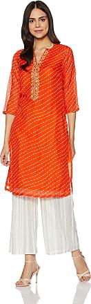 Biba Womens Straight Kurta (MNMFESTIVE 13061_Orange_32)