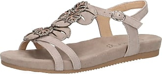 Caprice 28107-22 Women Strappy Sandals,Sandal,Strappy Sandals,Summer Shoes,Comfortable,Flat,(201) LT Grey Suede,39 EU,39 EU