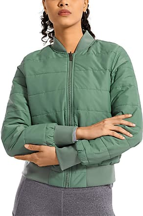 CRZ YOGA Womens Winter Coats Full Zip Lightweight Warm Packable Jacket Outerwear with Pockets Aqua 12