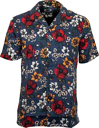 French Connection Floral Print Mens Short-Sleeve Shirt, Bijou Blue Medium