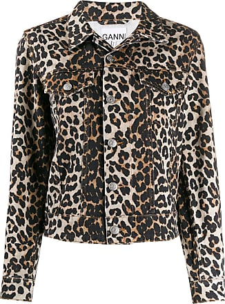 Ganni leopard denim jacket - Brown