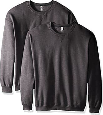 Fruit Of The Loom Mens Crew Sweatshirt (2 Pack), Charcoal Heather, X-Large