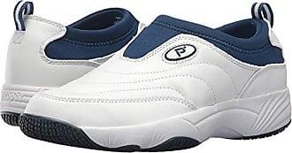 Propét Propet Womens Wash N Wear Slip On Ll Walking Shoe, SR White Navy, 9 4E US