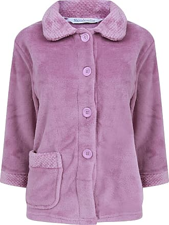 Slenderella Womens Button Up Coral Fleece Bed Jacket Housecoat with Waffle Detail - Medium (Heather)