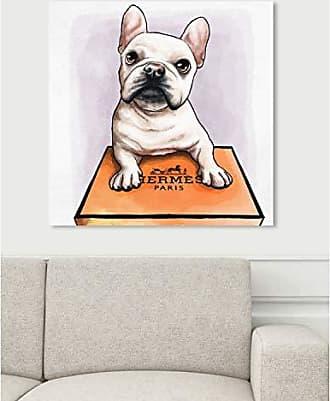The Oliver Gal Artist Co. The Oliver Gal Artist Co. Oliver Gal Treasure Box Frenchie White Dogs and Puppies Wall Art Print Premium Canvas 24 x 24 Orange