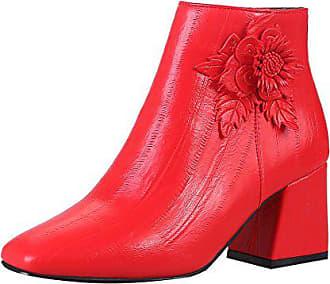 f49cc7d545a964 UH Damen Chunky Heels Stiefeletten mit Blume und Reißverschluss Süß  Hochzeit Braut Bequeme Ankle Boots