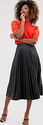 Stradivarius faux leather pleated skirt in black