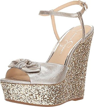 Jessica Simpson Womens AMELLA Wedge Sandal, Shimmer Silver, 9.5 Medium US