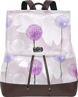 Ahomy Women Leather Backpack 3D Flowers Dandelions Reflection In Water Waterproof Anti-theft Fashion School Backpack Casual Daypacks