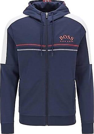 BOSS Regular-Fit Sweatjacke mit geschwungenem Logo und verstellbarer Kapuze