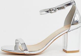Glamorous Silberfarbene Sandalen mit Blockabsatz