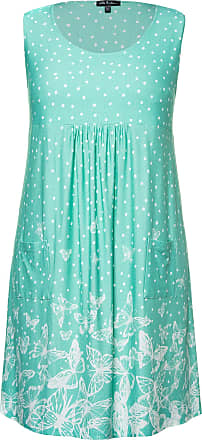 Ulla Popken Womens Plus Size Pretty Print Knit Tank Tunic Dress Aqua Green Multi 24/26 747523 45-50+