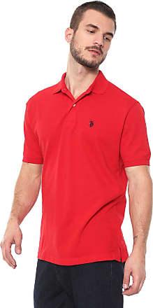 U.S.Polo Association Camisa Polo U.S. Polo Reta Lisa Vermelha