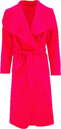 Parsa Fashions Malaika Womens Ladies Waterfall Long Full Sleeves Cape Cardigan Belted Jacket Trench Coat - Available in PLUS SIZES UK 8-20 (Plus Size (UK 20-22), Red