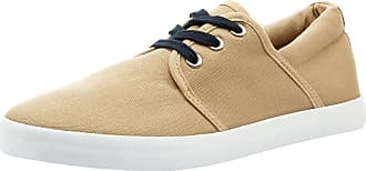oodji Mens Thin-Sole Cotton Canvas Shoes, Beige, 9 UK