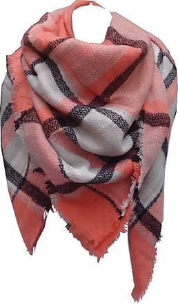 GlamLondon Blanket Scarf Warm Winter Womens Ladies Tartan Square Plaid Check Wrap Shawl (Coral-SQ7054)