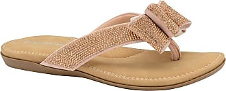Dunlop Ladies Womens Summer Folk Round Clip Toe Sandals Beach Flip Flops Flat Elastic T-Strap Post Thong Sandals Shoes (6 UK, Sonia - Rose Gold)