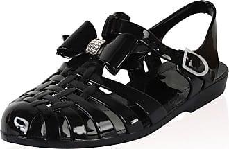Saute Styles Ladies Girl Beach Summer Retro Diamante Jelly Flip Flop Sandals Women Shoes Size 6 Black