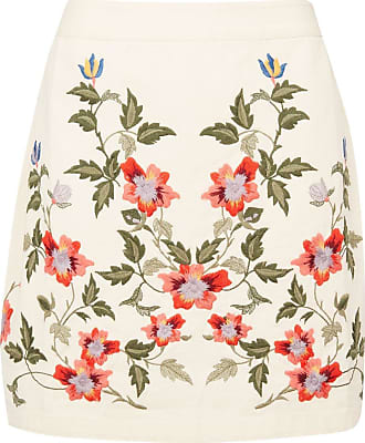 Topshop New Cream Floral Embroidered Skirt 6 8 10 12 14 16 £36 RRP (10)