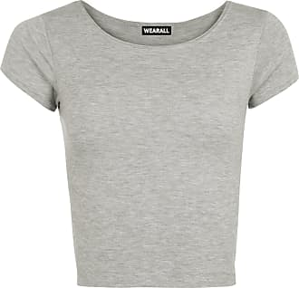 WearAll Womens Plain Crop Short Sleeve Top Round Neck Stretch Ladies Bra Vest - Light Grey - 12/14