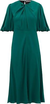 Emilia Wickstead Magnolia Puff-sleeve Georgette Midi Dress - Womens - Dark Green
